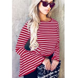 SHANIA Striped Top - RED